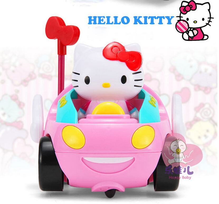 cartoon children rc toy hello kitty kt cat remote control car pink color electric toy with music light cute funny kids gift in rc cars from toys hobbies