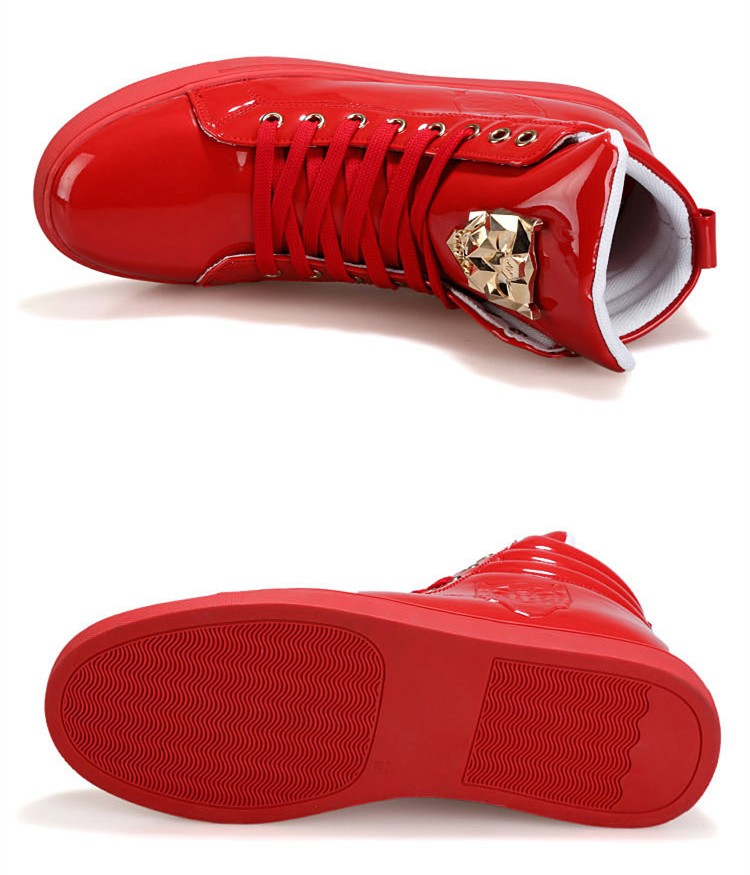 Fashion Leopard Sequined Skate Shoes For Men Ankle Boots 2015 New PU Patent Leather Shoe High Top Casual Flats Medusa Shoes F184 (12)