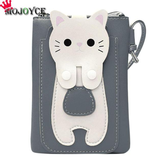 fd86145170f1 Women Small Sling Wallet Kitten Square Purse Shoulder Bag Cell Phone Mini  Bag PU Leather Girls Lovely Casual Soft Crossbody Bag