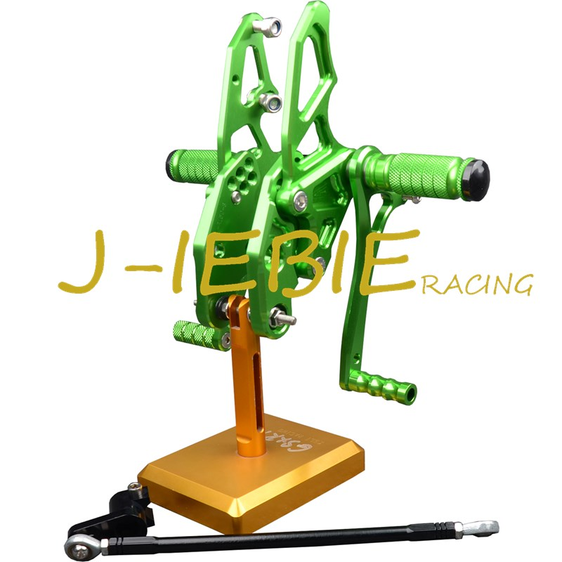 CNC Racing Rearset Adjustable Rear Sets Foot pegs Fit For Yamaha YZF R15 2012 2013 2014 2015 GREEN