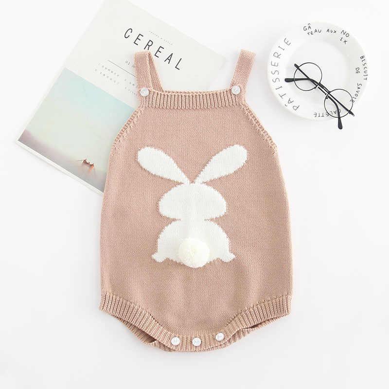 Милый кролик вязаный, для новорожденных трико для девочек Мягкий хлопок для малышей распашонка зимняя верхняя одежда для новорожденных младенцев, комбинезон детская одежда