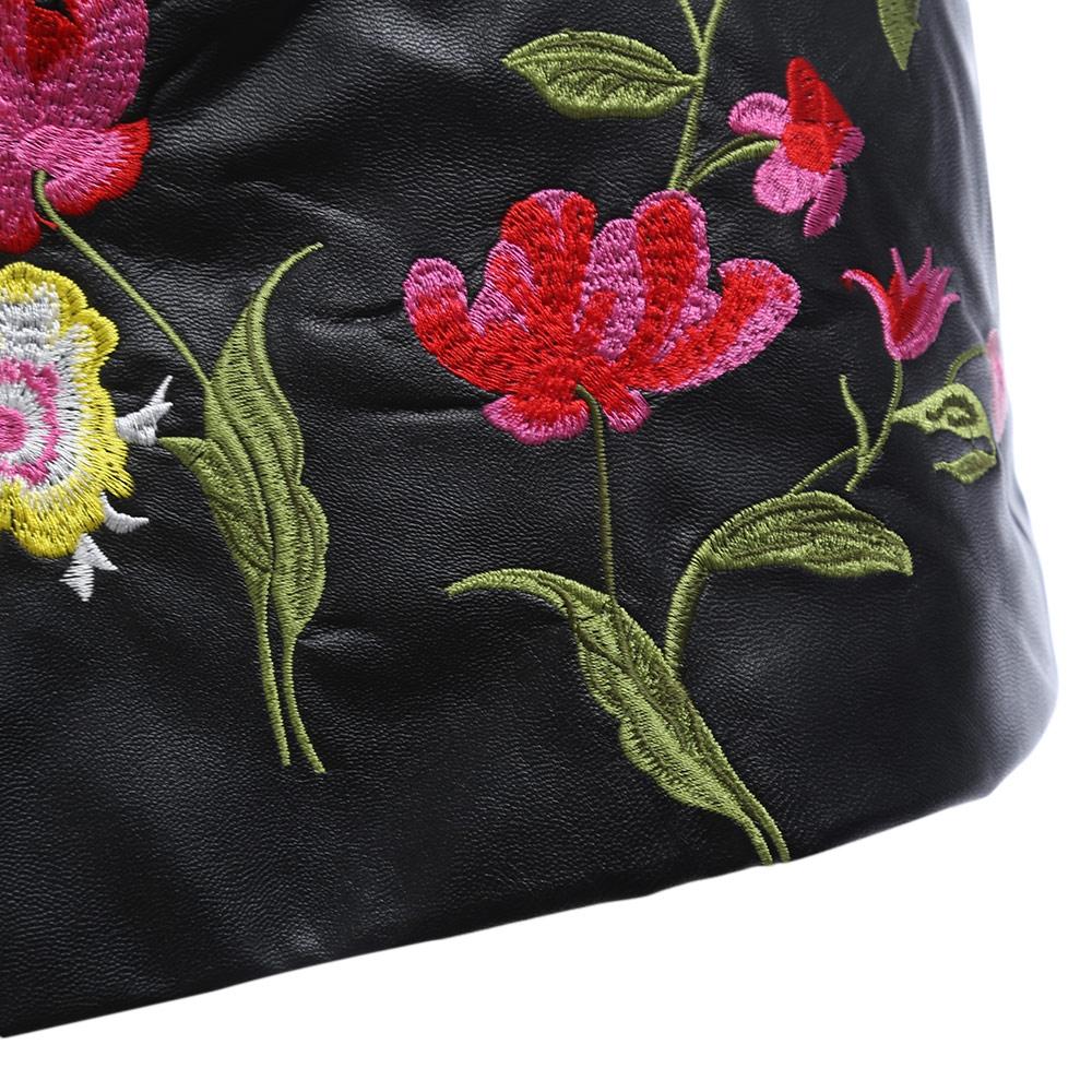 VESTLINDA Black Skirt Floral Embroidery Vintage PU Leather Pencil Skirt Women Slim High Waist Zipper Mini Ethic Plus Size Skirts 18