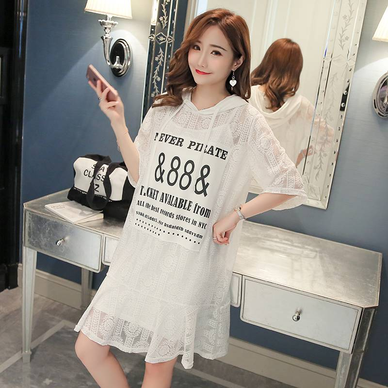 Korean version of the maternity dress 2018 new summer short-sleeved two-piece long section with a hat maternity skirt lace skirt