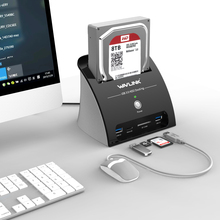 """Estación de acoplamiento Wavlink HDD 2,5 3,5 pulgadas con lector de tarjetas USB 3,0 a disco duro SATA carcasa externa para 2,5 """"y 3,5"""" HDD SSD"""