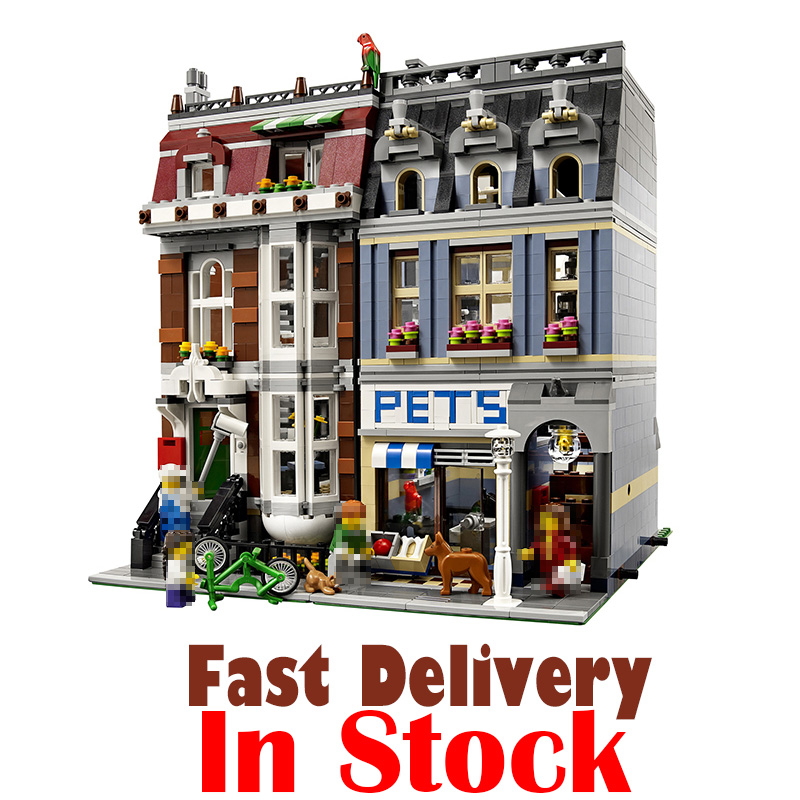 LEPIN 15009 Pet Shop Street View Creator Building Blocks Bricks Toys Educational For Children Compatible with legoINGly 10218 dhl new lepin 06039 1351pcs ninja samurai x desert cave chaos nya lloyd pythor building bricks blocks toys compatible 70596