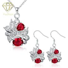 Online Jewelers Hot Sale Fashion Silver Plated Beautiful Plant with Blue/Purple/Red/White Crystal Jewelry Sets Necklace&Earrings