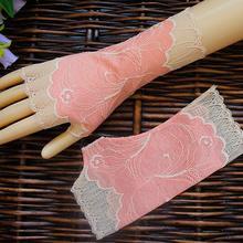 Весенне-летние женские тонкие сетчатые кружевные перчатки с принтом, женские сексуальные солнцезащитные перчатки без пальцев для вождения R1018