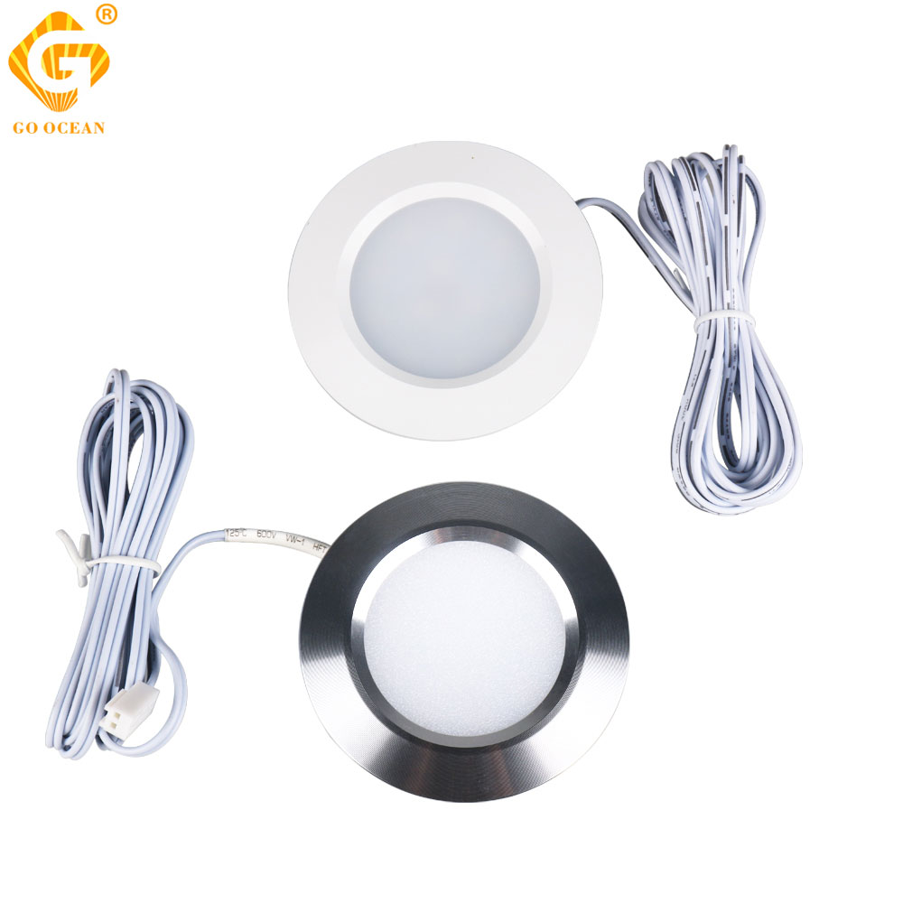 12PCS 12V LED Cabinet Light Round Aluminum Puck  Lamp Under kitchen Cupboard Shelf Lighting Fixture Indoor Lamps