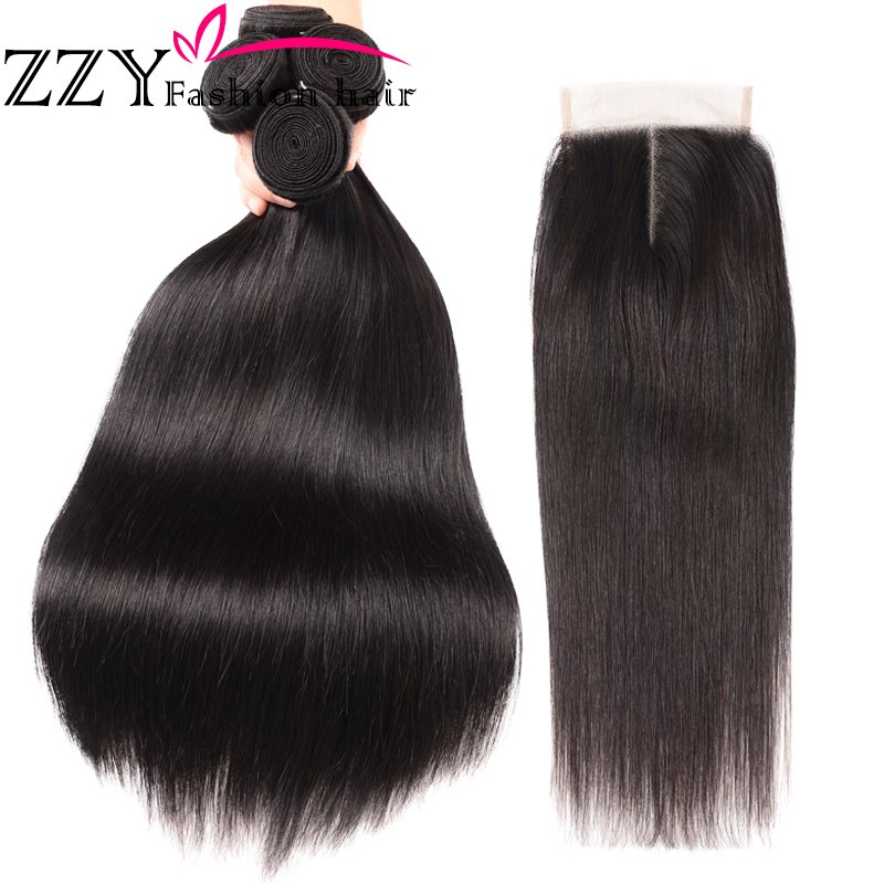 ZZY Fashion Hair 3 Bundles Brazilian Straight Hair With Closure 100% Human Hair With Lace Closure