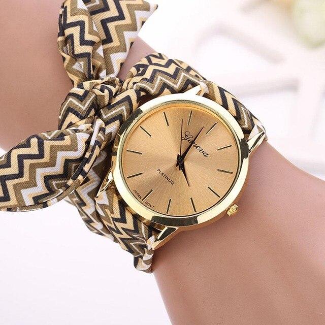 Women Watches Geneva Ladies flower cloth wristwatch fashion high quality fabric