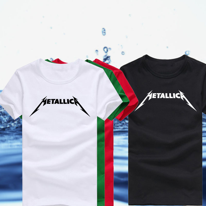 High quality unique rock band metallica logo printed t for Unusual shirts for men