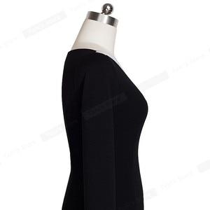 Image 4 - Nice forever Mature vestido elegante, Sexy, con cuello en V, elegante, botones de trabajo, Bodycon para oficina, mujer, manga 3/4, vaina, mujer, B335