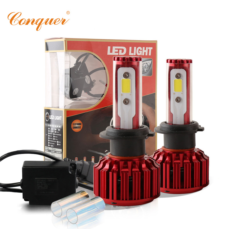Conquer 60W 6000LM H7 COB LED Headlight Conversion Kit White Car Canbus Fog Bulbs Auto Replacement Headlamp 5000K 6000K
