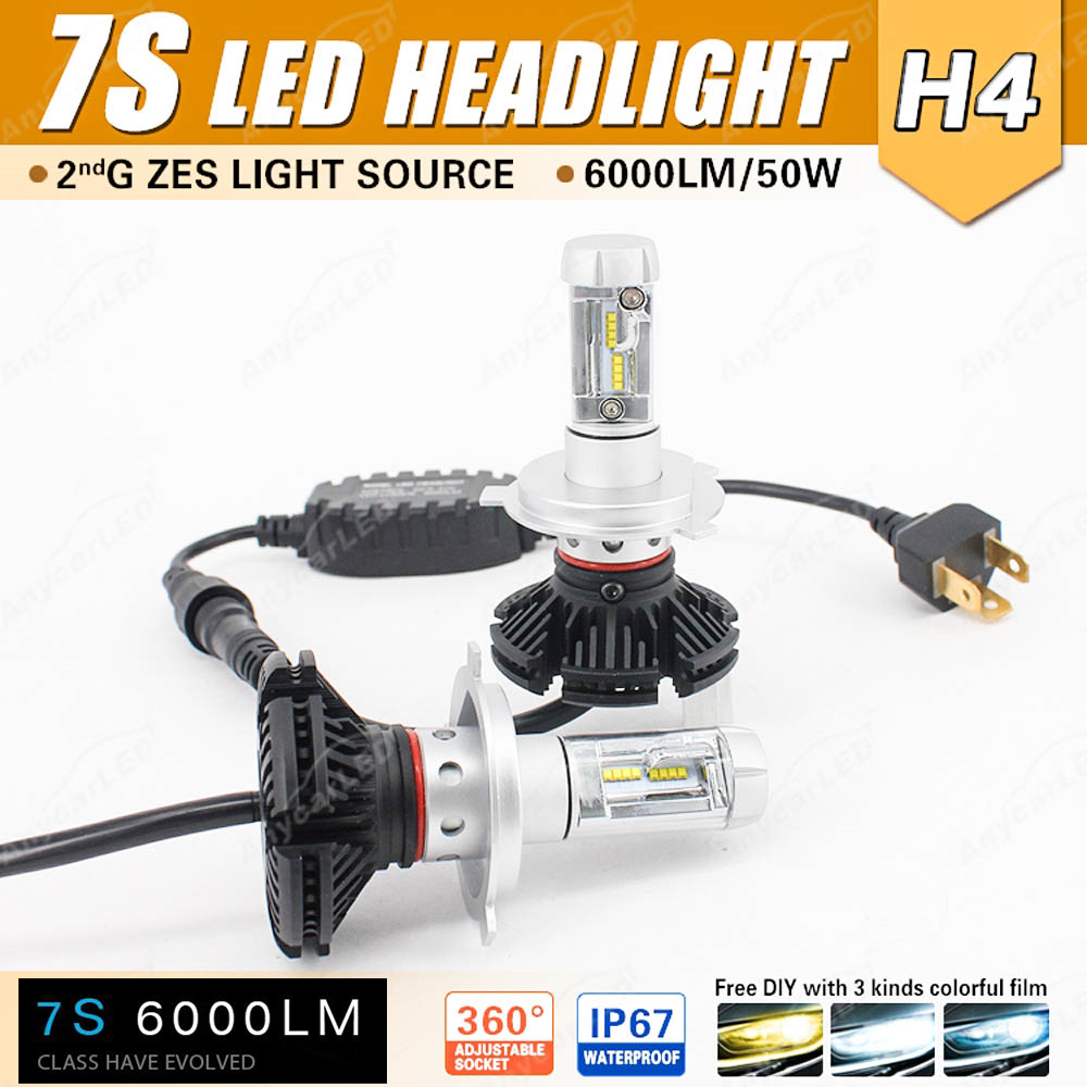 1 Set H4 HB2 9003 <font><b>7S</b></font> <font><b>LED</b></font> Headlight 50W 6000LM LUMILED LUXEON ZES 2nd Chips Fanless All-in-one W/Driver DIY Retrofit 3K 6.5K 8K image
