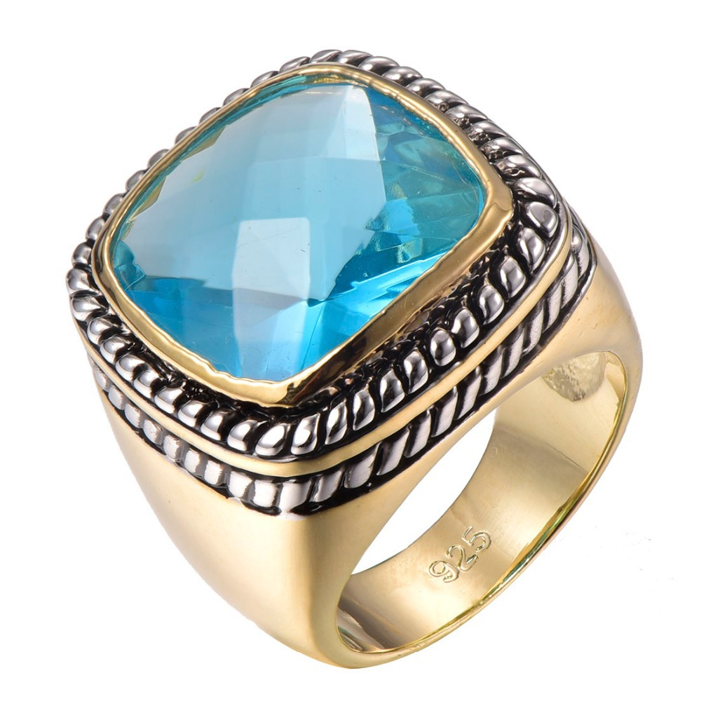 Factory price Huge Simulated Aquamarine Gold Filled Beautiful Ring Size 6 7 8 9 10 F1313