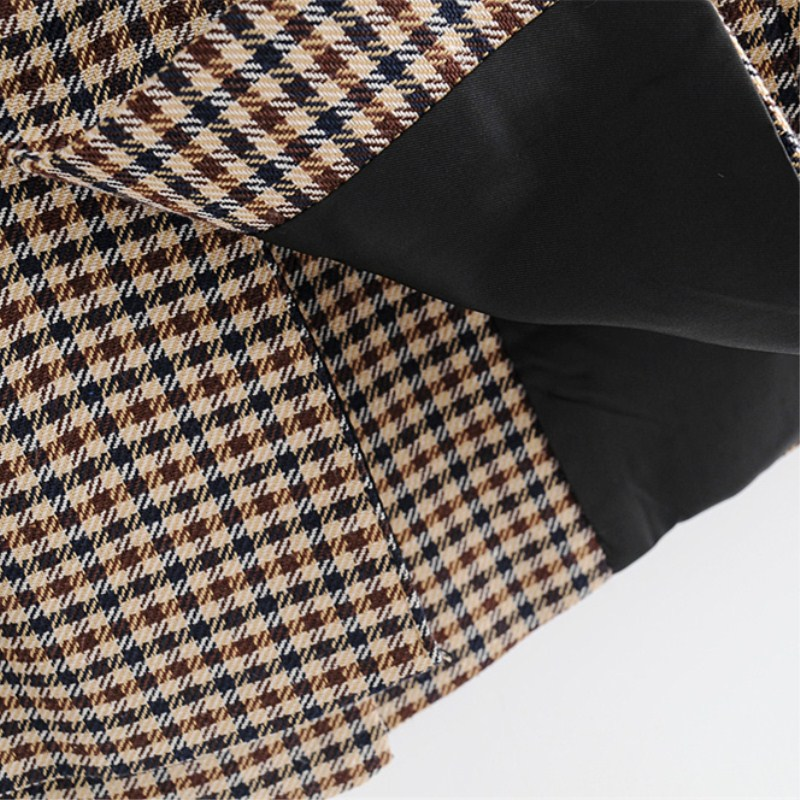Women Elegant Plaid Blazer Suit Long Sleeve Double Breasted Slim Checked Coat Formal Office Work Jacket Houndstooth Outerwear 22