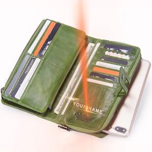 Image 3 - 連絡の本革の女性の財布ファッションレディースロングクラッチ財布ジッパーデザインコイン財布高品質カードホルダーバッグ