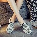 Новая коллекция весна мода бамбук вышивка холст обувь женщин нагнетает ботинки мокасины клин туфли на каблуках для женщины bottine femme