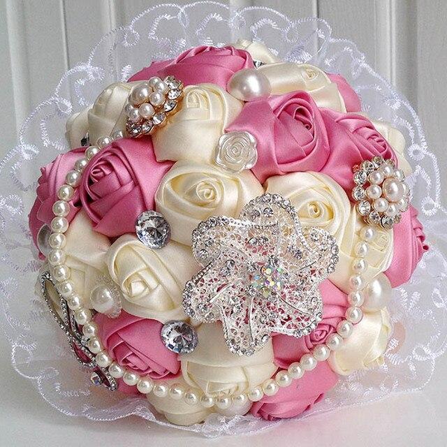 Роскошные кристаллы ручной жемчуг свадебные цветы свадебный букет искусственный букет buque де noiva mariage розовый синий фиолетовый