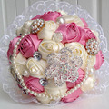 Luxury handmade pearls crystals wedding flowers bridal bouquet buque de noiva artificial bouquet mariage pink blue purple