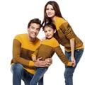 Familia de moda suéteres 2015 de la familia arropa sistemas otoño invierno de algodón a rayas de manga completa para la familia establece alta calidad