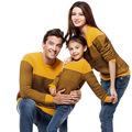 Fashion Family Sweaters 2015 Family Clothes Sets Autumn Winter Cotton Striped Full-Sleeve Sweaters For Family Sets High Quality