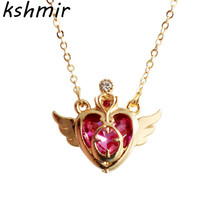 2018 hearts wings female charm necklace clavicle chain delicate pendant party gift ball
