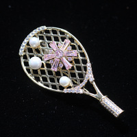 Autumn and winter new designer tennis racket brooch personality can be rotated badminton racket pin