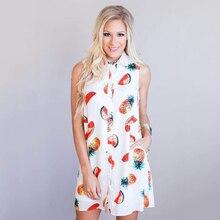 ФОТО women's summer dress all over fruits prints pineapple watermelon printed sleeveless back detail casual loose shirt skater dress