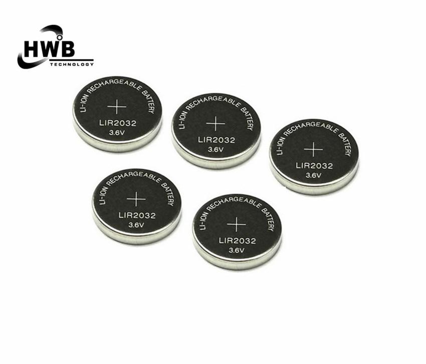 5x LIR2032 Baterias de Iões de lítio 3.6 V 40 mAh De Lítio Recarregável Botão Células Coin Bateria Para Relógio Calculadora Frete Grátis
