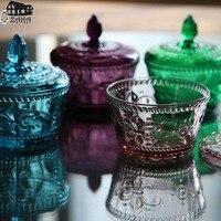 Nieuwe collectie KEYAMA Europese Multicolor Driedimensionale relief glas snoep potten met een deksel Spice thee dozen Keuken opslagtank