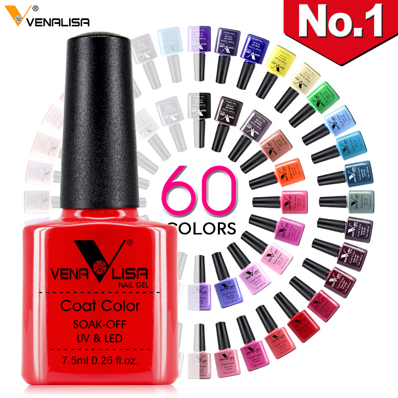 Nouveau Livraison Gratuite nail art Conception Manucure Venalisa 60 Couleur 7.5 Ml faire tremper au large Émail Gel Polonais UV Gel vernis à ongles Laque Vernis