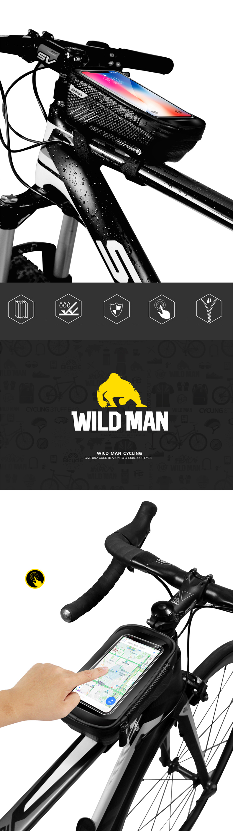 Clearance WILD MAN Mountain Bike Bag Rainproof Waterproof Mtb Front Bag 6.2inch Mobile Phone Case Bicycle Top Tube Bag Cycling Accessories 0