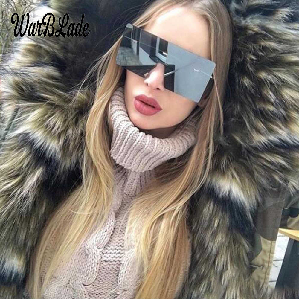 big one piece lens sunglasses women square blue pink brown metal rimless sun glasses for men male 2018 uv400 WarBLade