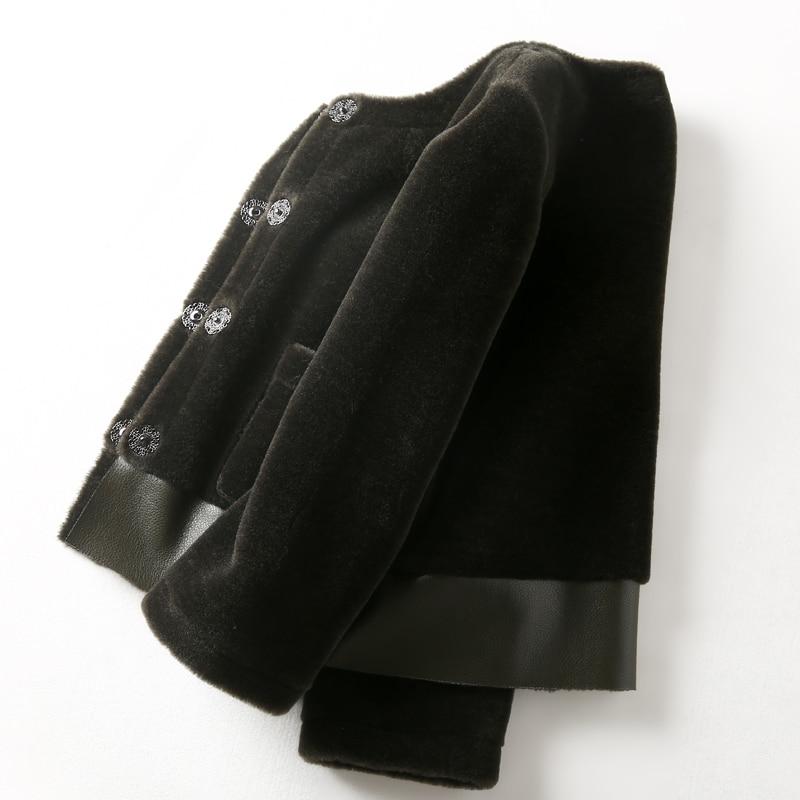 Épaississent black red Furry En Green De Réel brown 100 5 Court Parkas Couleurs Outwear Manteau Cuir Véritable Des Double Wear Tonte Moutons Femmes pink Luxe SgRdO7xwn7