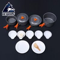 1 Set Hewolf 4 5 Persons Outdoor Tableware Aluminum Alloy Camping Hiking Picnic Cookware Portable Pot Pan Bowl Cooking Tableware