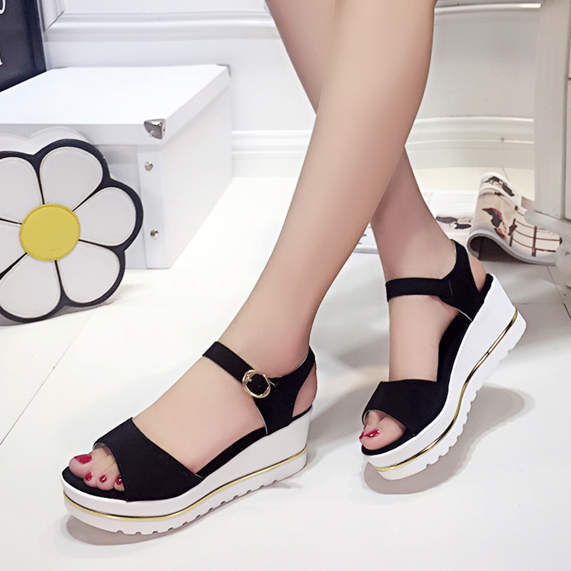 42bd8d429ea3 2018 Summer New Female Platform Wedge Peep Toe Women Shoes Waterproof  Buckles thick soles Muffin bottom High Heeled sandals-in Low Heels from  Shoes on ...