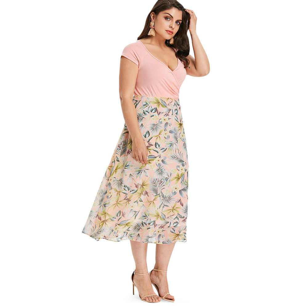 75ceca3361 Gamiss Plus Size Tropical Floral A-Line Dress Women Casual V Neck Short  Sleeves Sundress Summer Party Dresses Vestidos Big Size