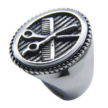 Nieuwe Kapsalon Ring 316L Rvs Vrouwen Mens Fashion Ovale Schaar Ring(China)