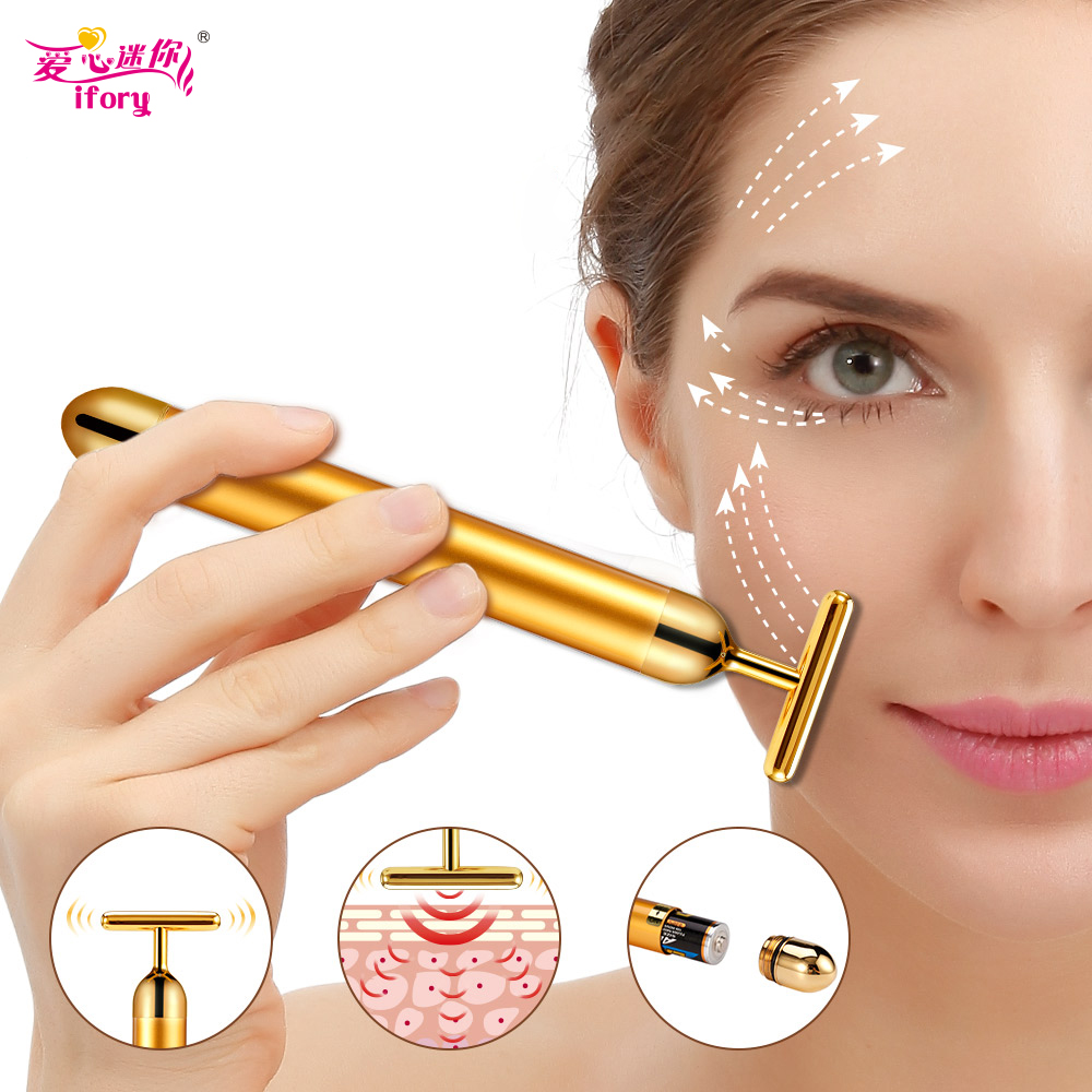 Ifory 24K Beauty Massager Vibration Facial Beauty Massage Stick Face-lift Skin Enhancing Skin Anti-wrinkle Face Massage Roller new arrival fashion red electric face lift tool roller massager electronic facial slimming massage facial beauty