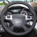 Black Leather Hand-stitched Car Steering Wheel Cover for Ford Focus 3 2012-2014 KUGA Escape 2013-2016