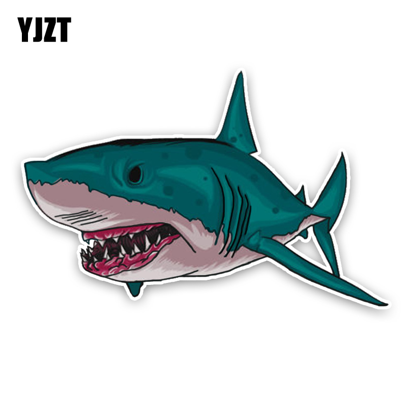 YJZT 14.4*9.3CM Interesting Aggressive Shark Cartoon Colored PVC High Quality Car Sticker Decoration C1-5408