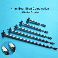 RC Model Boat 4mm Ship Shaft Drive Shaft Universal Joint 3 Blades Propeller Stainless Steel Shaft