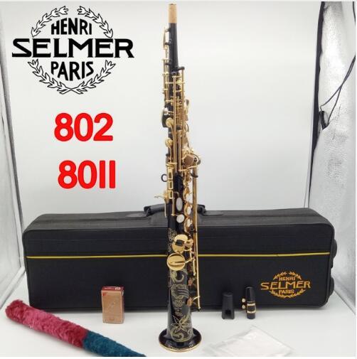 Marque Nouvelle France Henri Paris Professionnel Saxophone Soprano 802 Noir Laque Instruments de Musique Professionnel Sax Soprano 80II