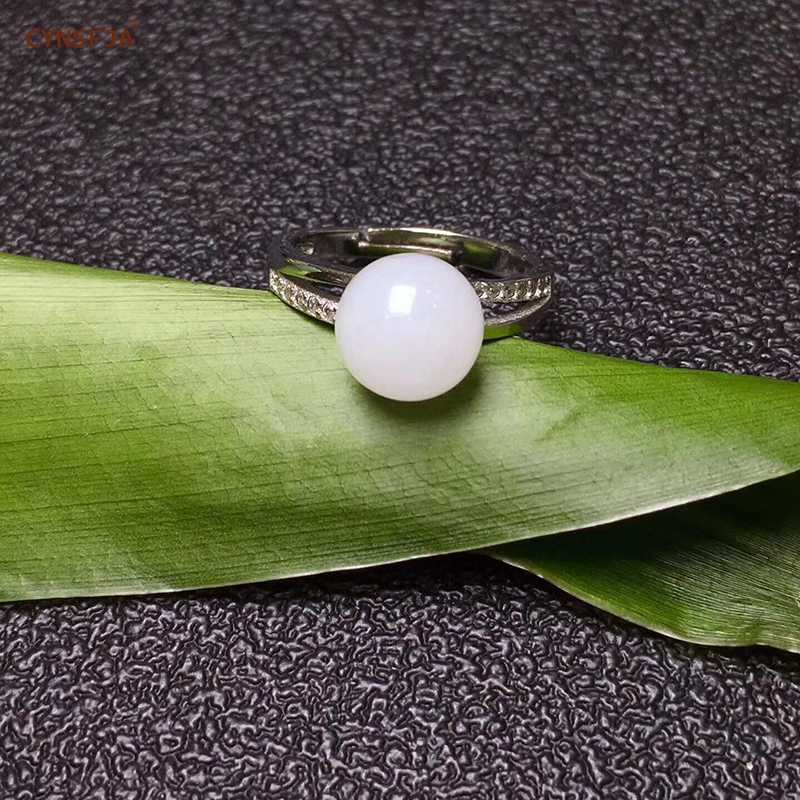 ได้รับการรับรองหยกหยกธรรมชาติ Hetian ฝัง 925 เงินสเตอร์ลิง Handmade Lucky หยกแหวนสีขาวคุณภาพสูงของขวัญที่ยอดเยี่ยม