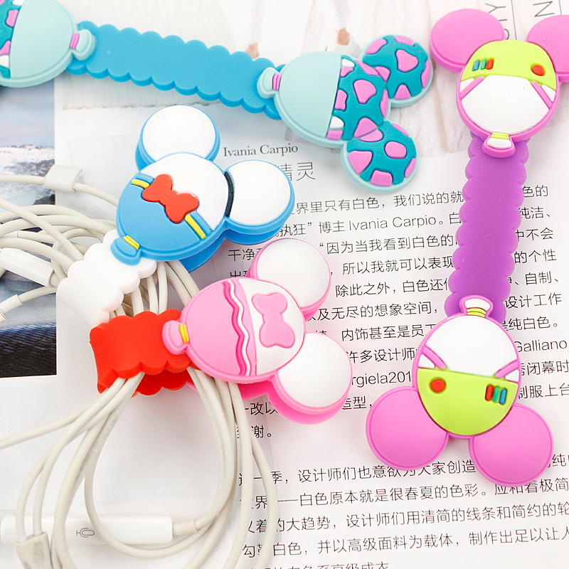 50pcs/lot 2016 New Cartoon Model Headphone Cord Holder Earphone Cable Wire Organizer USB Charger Cable Winder Best Gift
