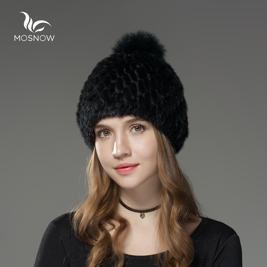 Mosnow 100% Natural Mink Fur Winter Fur Hats Pom Poms For Women Vogue Knitted Brand Casual Warm Hat Female Skullies Beanies sopamey winter wool knitted hat beanies real mink fur pom poms skullies hat for women girls warm hat feminino 2017