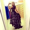 Chegada nova elegante da festa vestido de baile Vestido de Festa A-line lace high-low trem da varredura vestido frete grátis