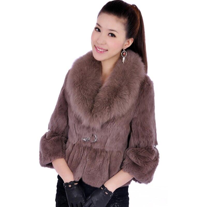 Design sottile Diamante Pietra Naturale Rex Rabbit Fur Cappotti Della Tuta Sportiva delle Donne Reale collo di Pelliccia Volpe Vera Pelliccia Giacche 2018 inverno