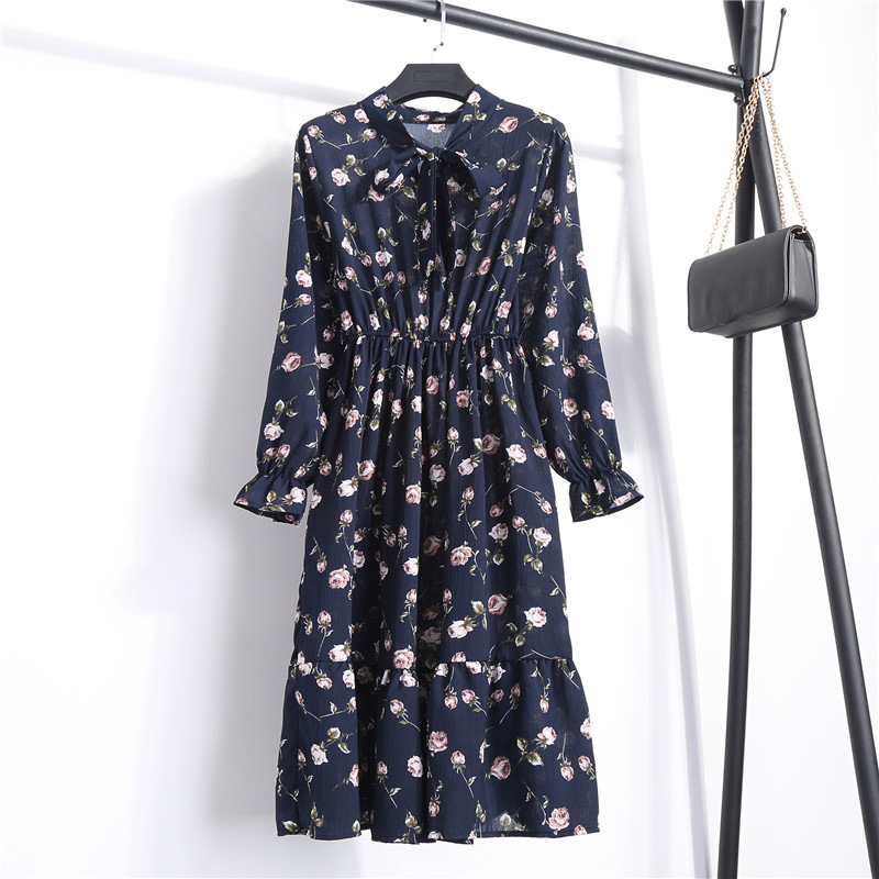 Summer Korean Chiffon Women Dress Elegant Ladies Vintage Long Dress Boho Floral Office Long Sleeve Vestidos Clothing 5LYQ003 24